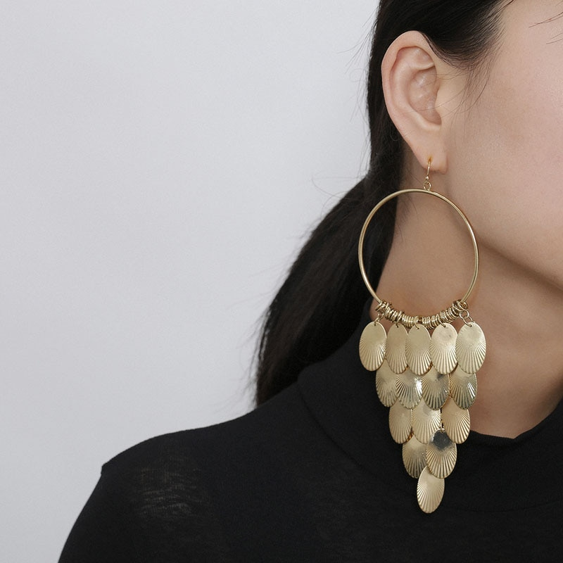 SRCOI forma de uva oro plata Color Metal hueco redondo gota pendiente grande Vintage moda redondo gota pendientes para mujeres fiesta