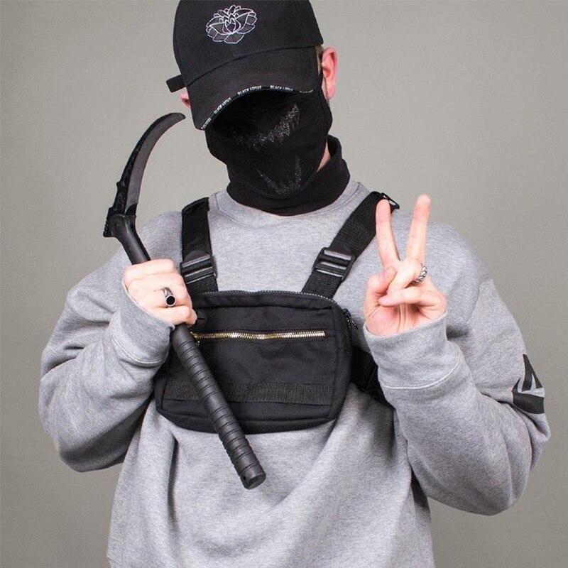 Bolso pequeño para hombre, aparejo para el pecho, ropa de calle, deportes al aire libre, riñonera militar, bolso de hombro impermeable para teléfono, cinturón táctico para el pecho