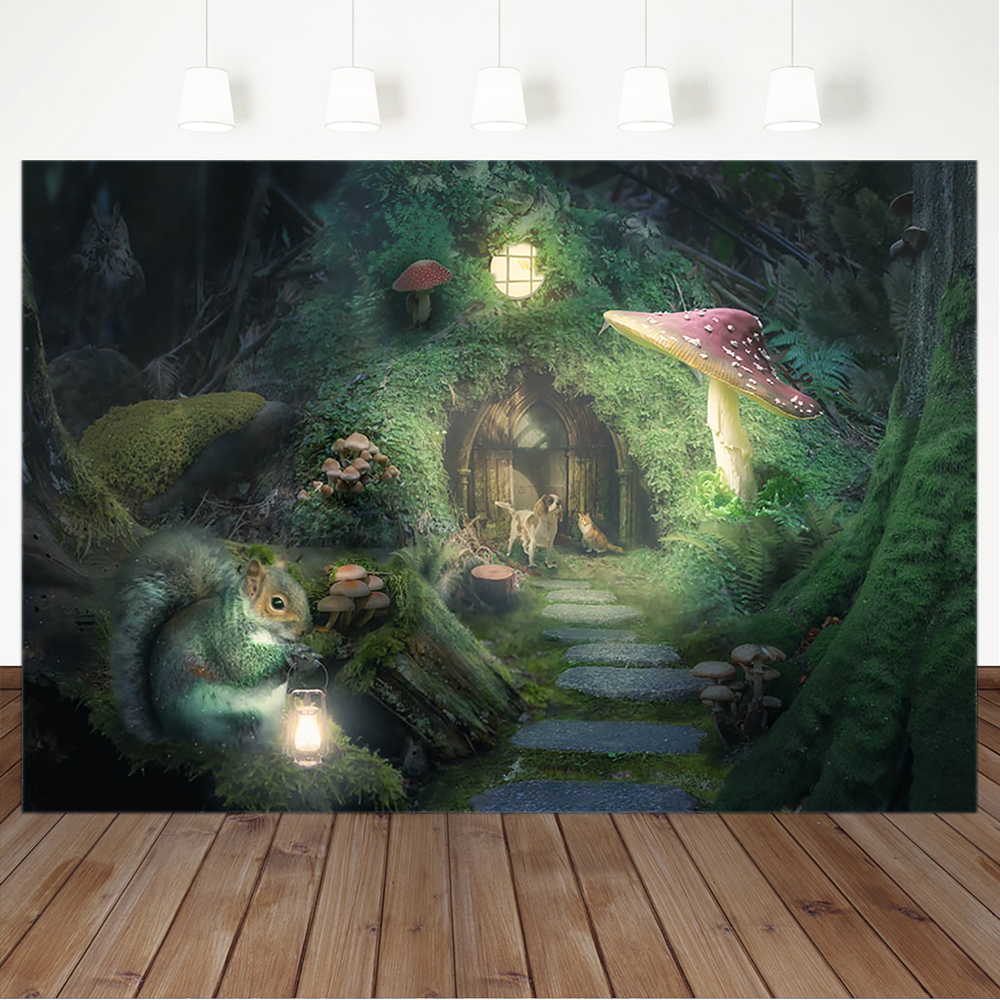 Fairy Forest Photography Backdrops Children Backgrounds for Photo Studio Tree House Dog Squirrel Mushroom Photo Background