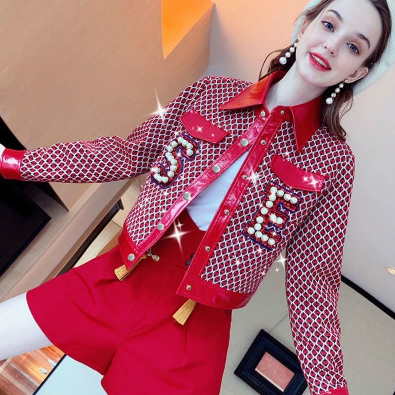 Luxury Atmosphere Autumn and Winter New Style Leather Temperament Fashion Western Style Short Jacket + Shorts Two-piece Suit