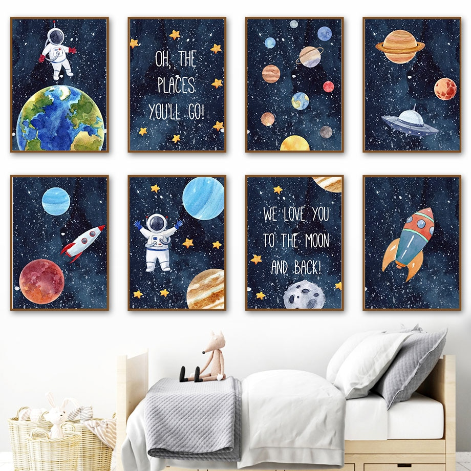 AliExpress - Space Planet Rocket Astronaut Star Nursery Wall Art Canvas Painting Nordic Poster And Prints Wall Pictures Baby Kids Room Decor