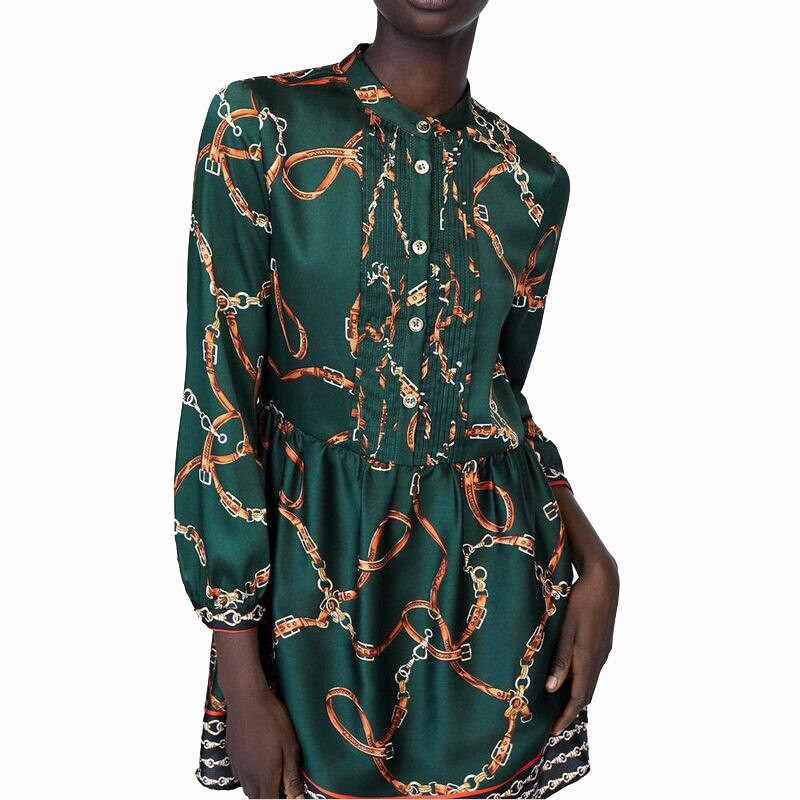 Za primavera cadena nueva impresión mujeres Casual verde Mini Vestidos Verano Vestido de manga larga