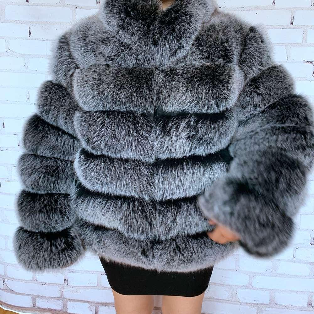 Europe Fashion Women Winter Thick Warm Real Genuine Fox Fur Coat Lady Luxurious Fox Fur Jacket Brand Real Fox Fur Overcoats