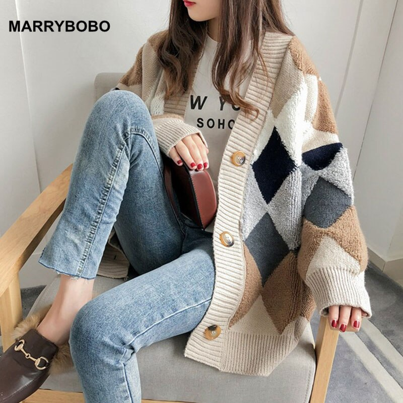 Vintage xadrez impressão de malha cardigans feminino outono inverno blusas 2020 casual coreano manga longa solta outerwear topos