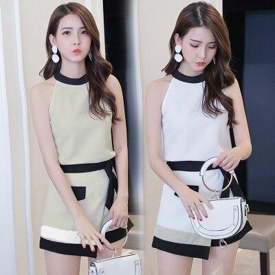 Conjunto de 2 piezas de ropa de verano de estilo coreano, con hombros descubiertos, de retazos Halter para mujer, bonitos trajes blancos para adolescentes y mujeres