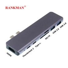 Rankman Type C Daul vers HDMI 4K Thunderbolt 3 USB C SD TF lecteur de carte USB 3.0 3.1 adaptateur pour nouveau MacBook Pro Air TV projecteur