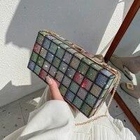 summer ins bright diamond bag 2021 new fashion chain messenger box bag luxury handbags women bags designer satchels