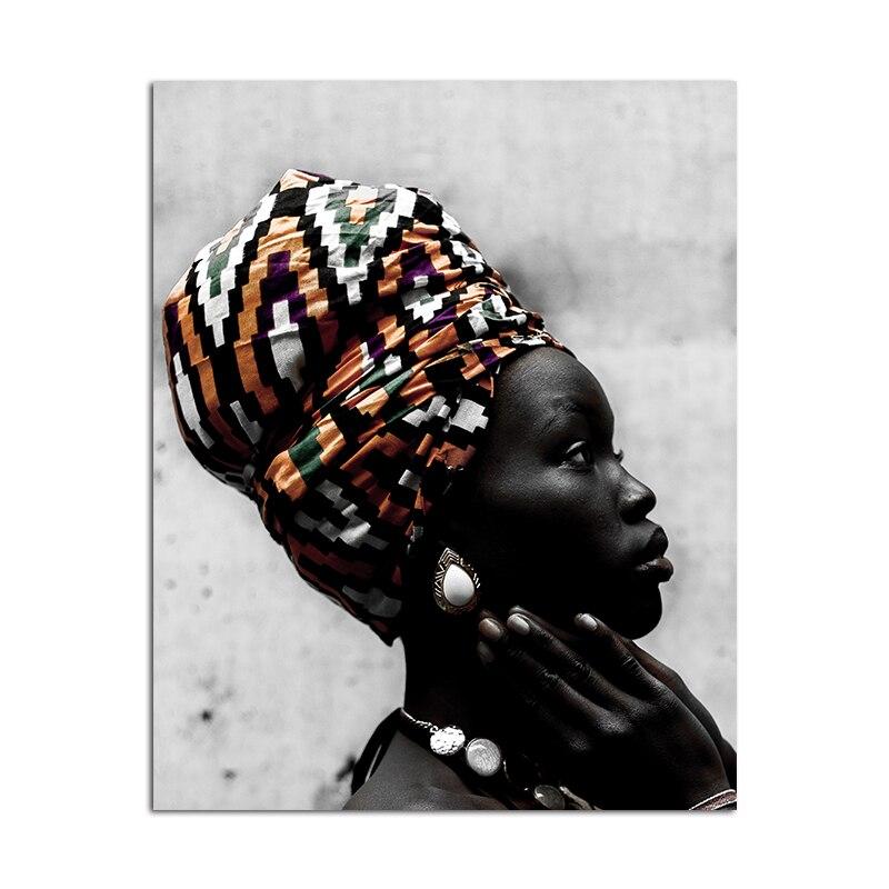Mujer lienzo de pintura Africana negro carteles de mujer e impresiones arte de pared imagen para sala de estar escandinava decoración del hogar