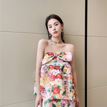 2PCS floral printed sets strapless women tops+skirts summer 2021 french style beach dresses 2376#
