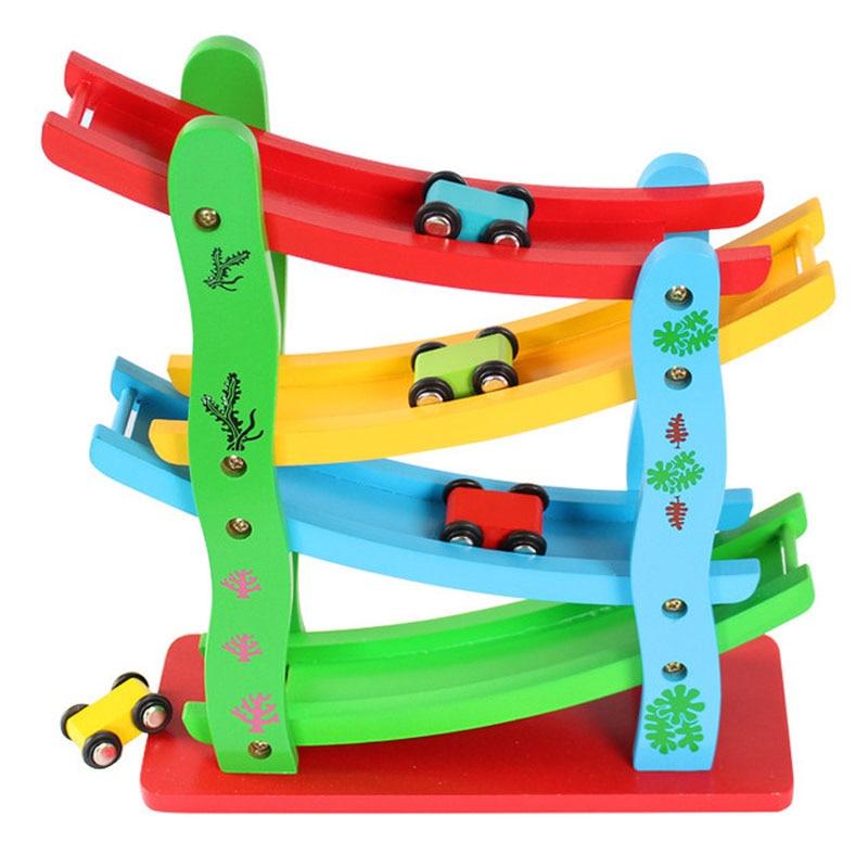 Coches de juguete con ranura de madera para niños pequeños, escalera de madera, modelo de deslizamiento de carros para deslizarse, juguete educativo para niños, regalos de cumpleaños