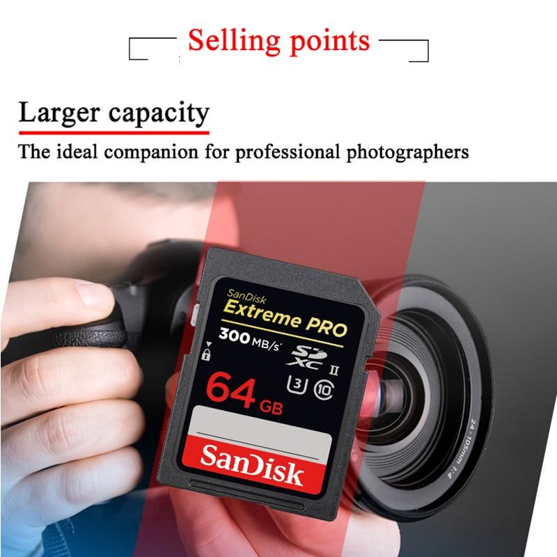 Sandisk Extreme Pro Class10 Flash Memory Cards 128GB 64GB 32GB High Speed Up to 300MB/S U3 SDHC SDXC UHS-II for Cameras Original enlarge