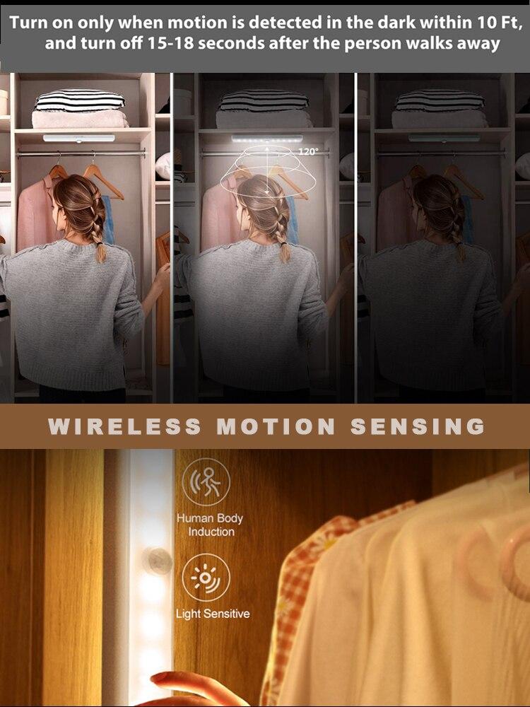 Беспроводной светодиодный ночник с датчиком движения, настенный светильник для шкафа, лестницы, освещение для гостиной, коридора