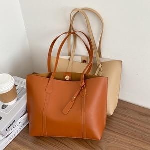 Korea Japan Women Large Shoulder Bag PU Fashion Female Vetro High Capacity Totes Top Handle Shopping Bag Lady Handbag