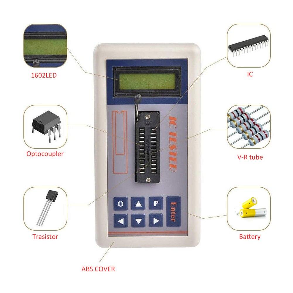 Тестер интегральной схемы, портативный цифровой светодиодный тестер транзисторов, автоматическое обнаружение транзисторов NPN и PNP (без бат...
