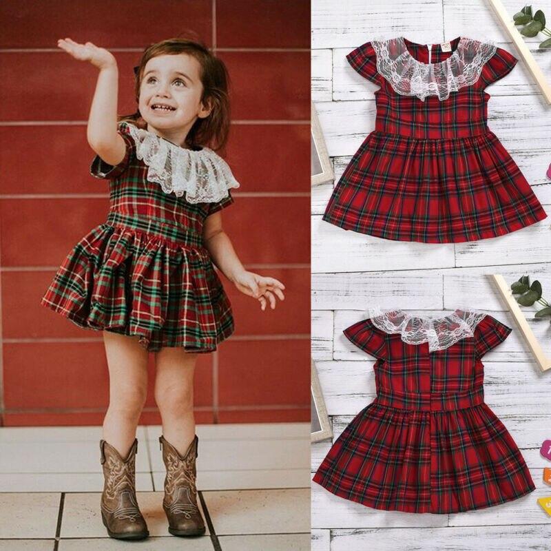 Emmamaby Xams TELA ESCOCESA roja niño chico niña atuendo ropa de encaje Patchwork Plaid manga corta Camiseta tutú vestido de verano