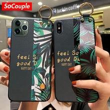SoCouple Phone Case For iPhone 11 Case For iPhone 11 Pro Max X XS Max XR 6 6S 7 8 Plus SE Soft TPU Wrist Strap Phone Holder Case