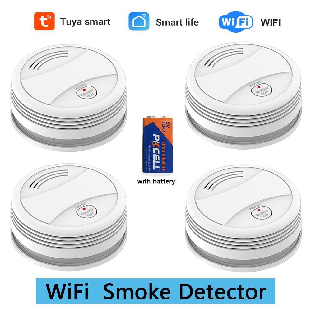 SM05W 4 шт./лот, WiFi детектор дыма, пожарная сигнализация, приложение Tuya, умная жизнь, управление через приложение, датчик дыма, WiFi детектор дыма