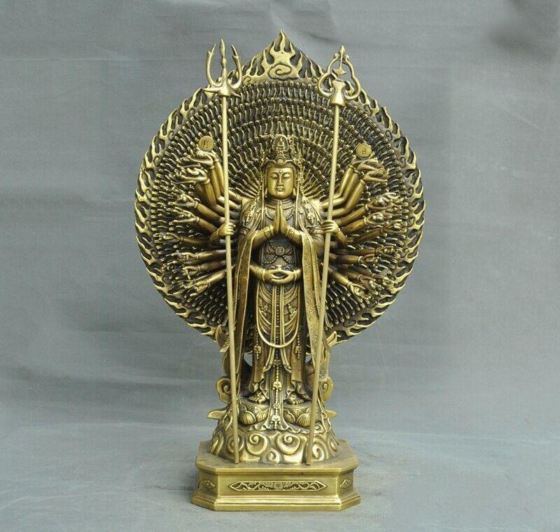 Bruiloft Decoratie Tibet Messing 1000 Armen Avalokitesvara Kwan-Yin Guanyin Bodhisattva Boeddhabeeld