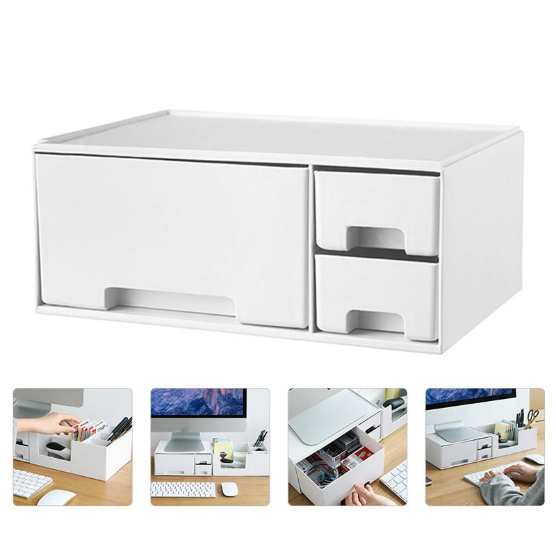1 قطعة مراقب المنزلية مرتفعة حامل الكمبيوتر زيادة الرف رصد الرف (أبيض)