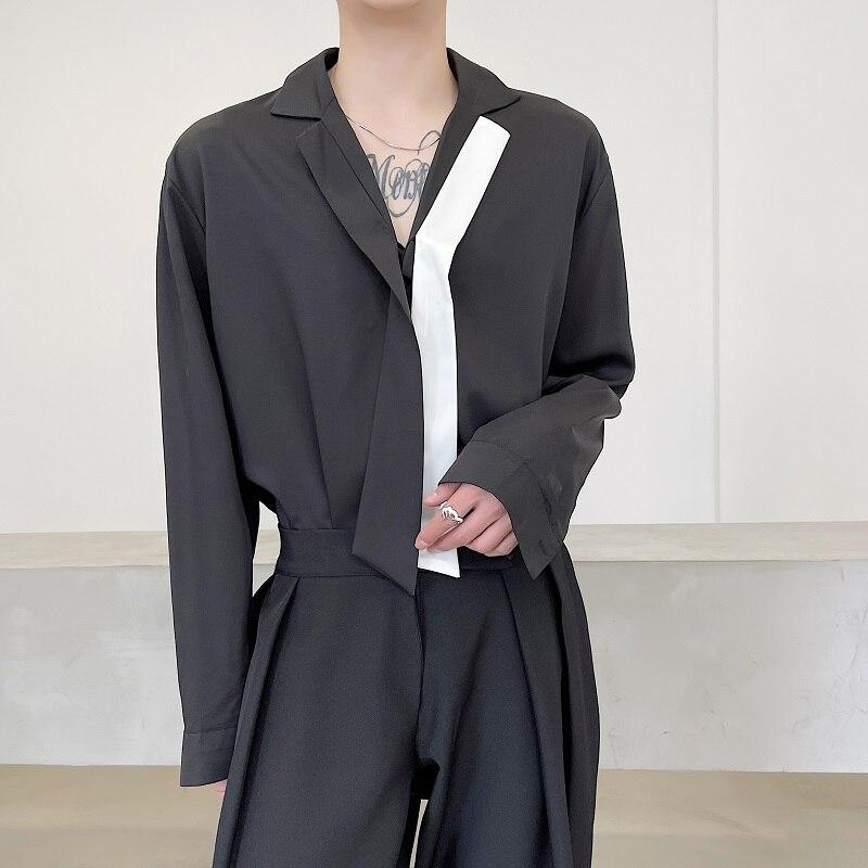 Свободная Мужская рубашка в Корейском стиле, Повседневная черно-белая драпированная рубашка с длинными рукавами и галстуком-бабочкой и поя...