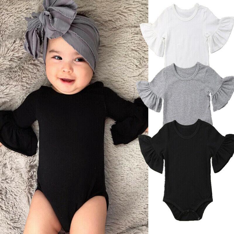 0-24 мес., для новорожденных девочек, с расклешенными рукавами, однотонный черный, белый, серый комбинезон на каждый день, цельнокроеные наряды, детский хлопковый костюм