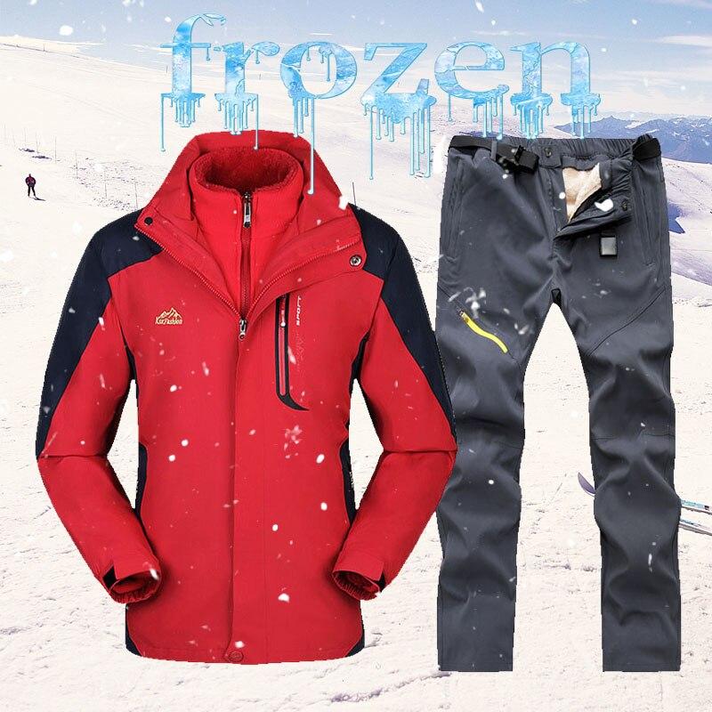 2020 зимний лыжный костюм мужские зимние лыжные куртки + флисовые брюки уличные теплые водонепроницаемые ветрозащитные лыжные и Сноубординг ...