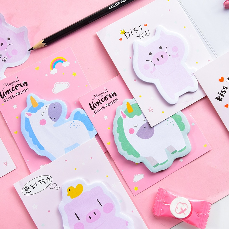 30 unids/set Kawaii Memo Pad pegatina con figura de unicornio nota adhesiva Oficina escuela suministros DIY decoración creativa bonita papelería estudiantil