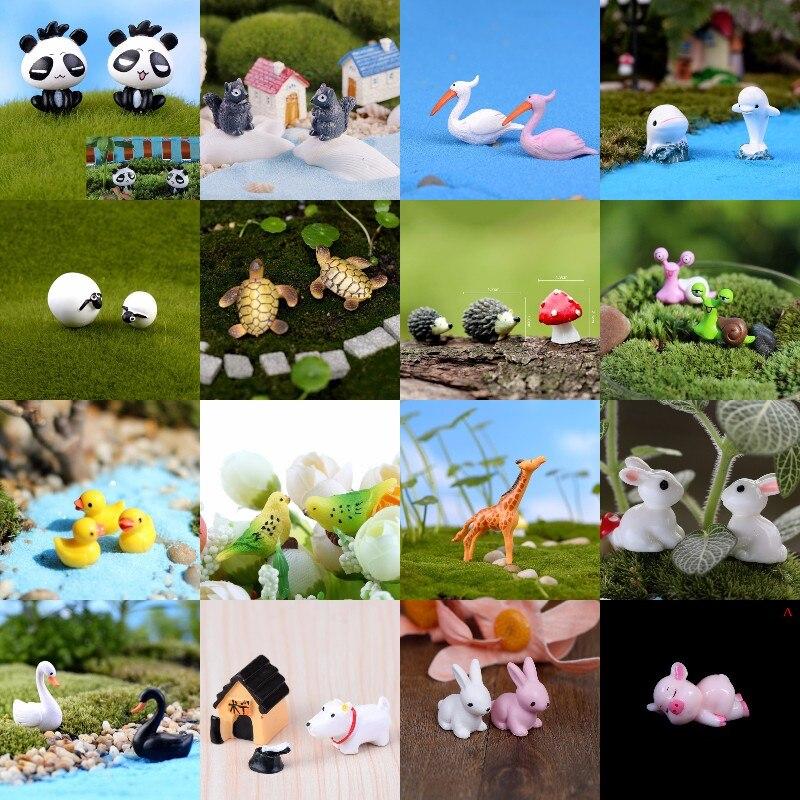 1/2 Micro Landscape Mini Animals Miniature Fairy Garden Miniaturas Micro Moss Landscape Terrarium Accessories Figurines Decor