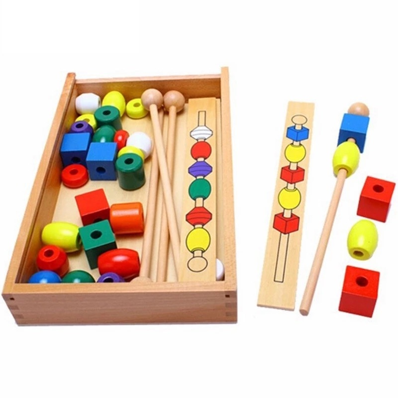 Montessori Educational Wooden Toys for Kids Colorful Shape Stick Bead  Set Blocks Baby 1-3 Years