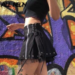 ALLNeon Mall гот эстетика с низкой талией черные Мини-юбки E-девушка Винтаж с кружевной отделкой на молнии Юбка трапециевидной формы в стиле «панк...