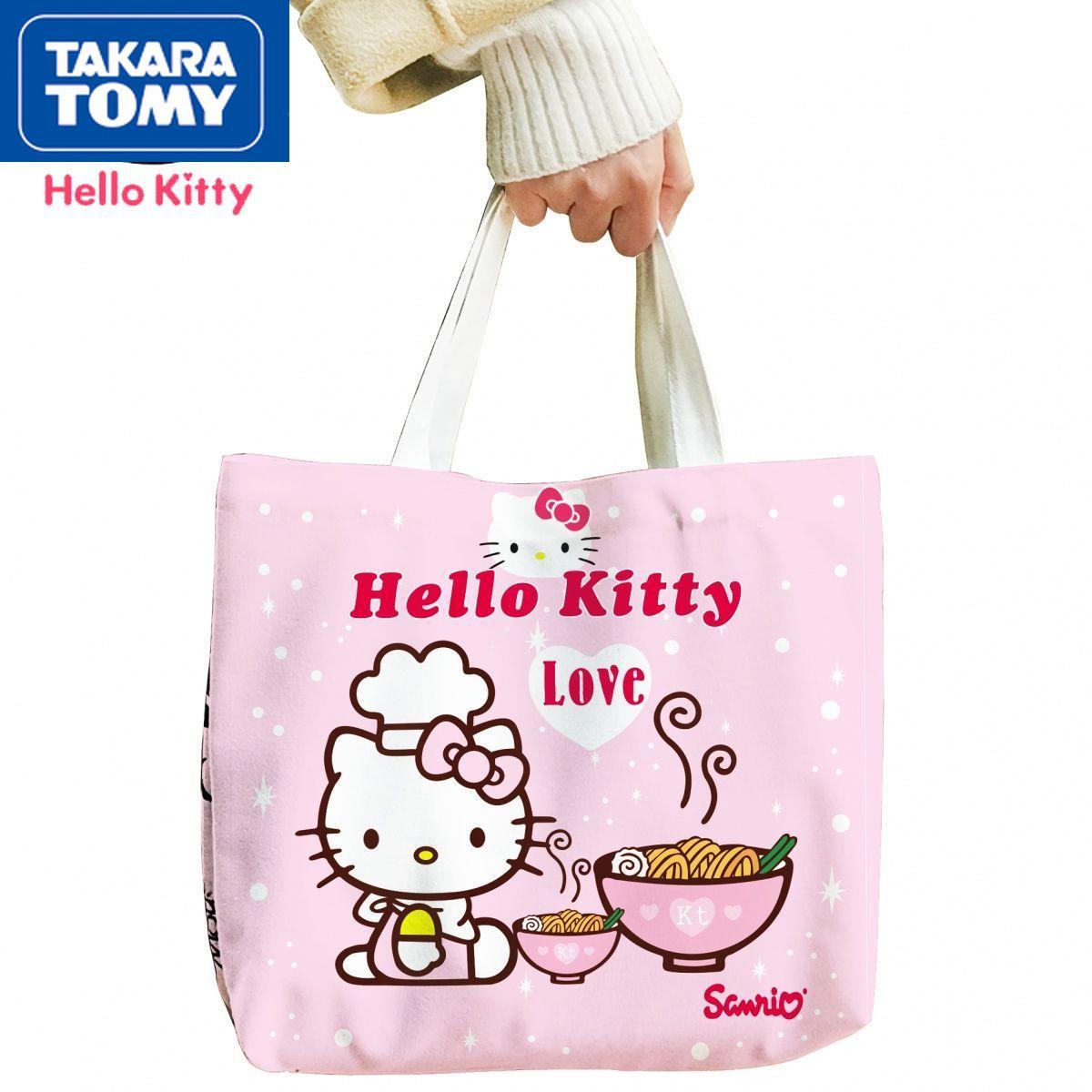 printio сумка hello kitty TAKARA TOMY симпатичная мультяшная Hello Kitty вместительная Холщовая Сумка на одно плечо простая Женская милая и свежая Повседневная сумка