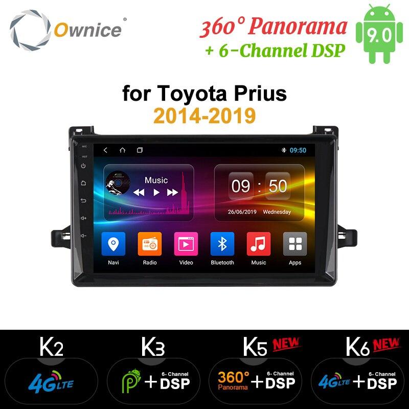 Ownice k3 k5 k6 android9.0 jogador do carro rádio gps 360 panorama auto estéreo para toyota prius 2014 2015 2016 2017 4g lte dsp óptico