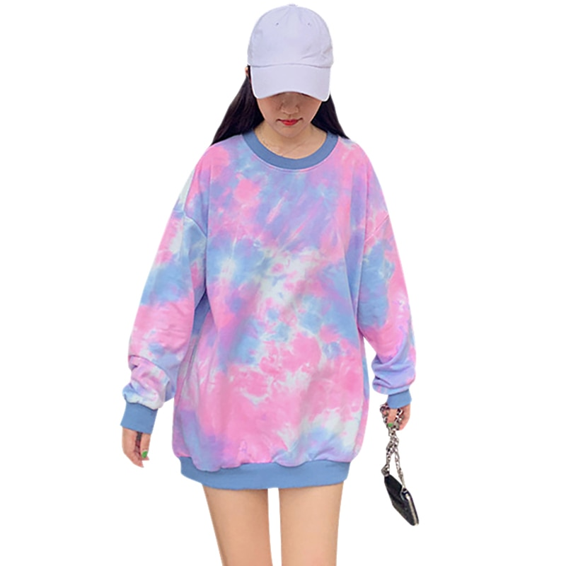 Women Sweatshirt Simple Winter Long Sleeve Pull Pullover Sweter Cute Graffiti Print Autumn Loose Round Collar Sweatshirt
