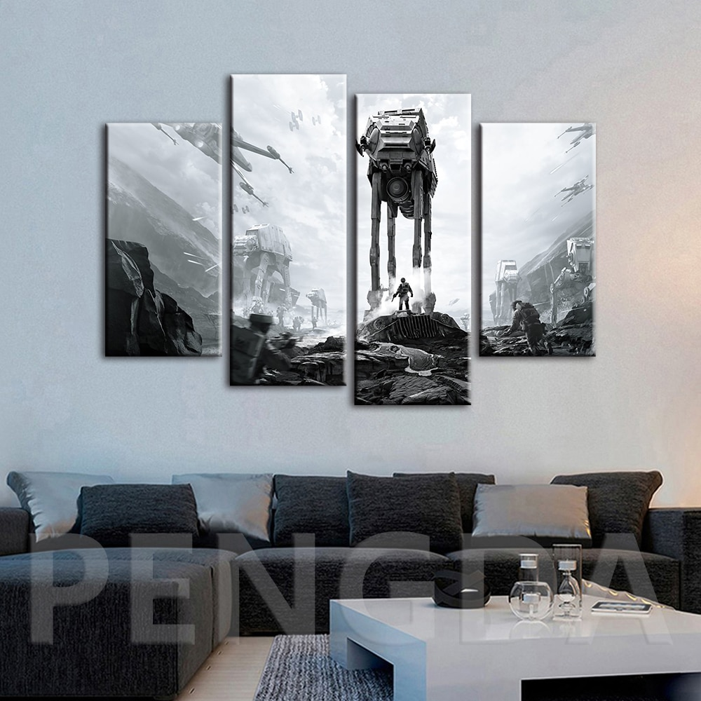 Decoración del hogar lienzo impreso pinturas película Star Wars póster pared arte para fondo de cabecera moderno imágenes modulares fama