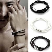 european and american korean explosion models mens multilayer braided leather bracelet evil eye bracelet bracelets for men