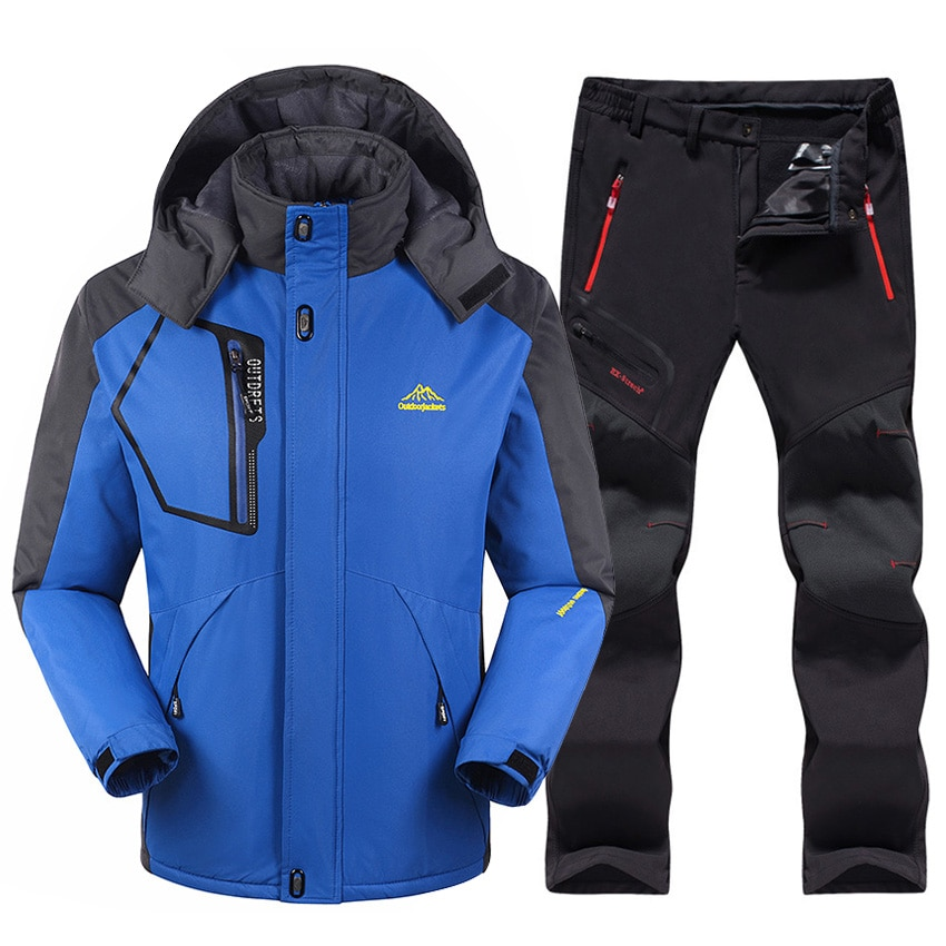 Лыжный костюм мужской, водонепроницаемый, флисовый, для сноуборда, куртка + брюки, комплект зимней одежды для горных лыж и сноуборда