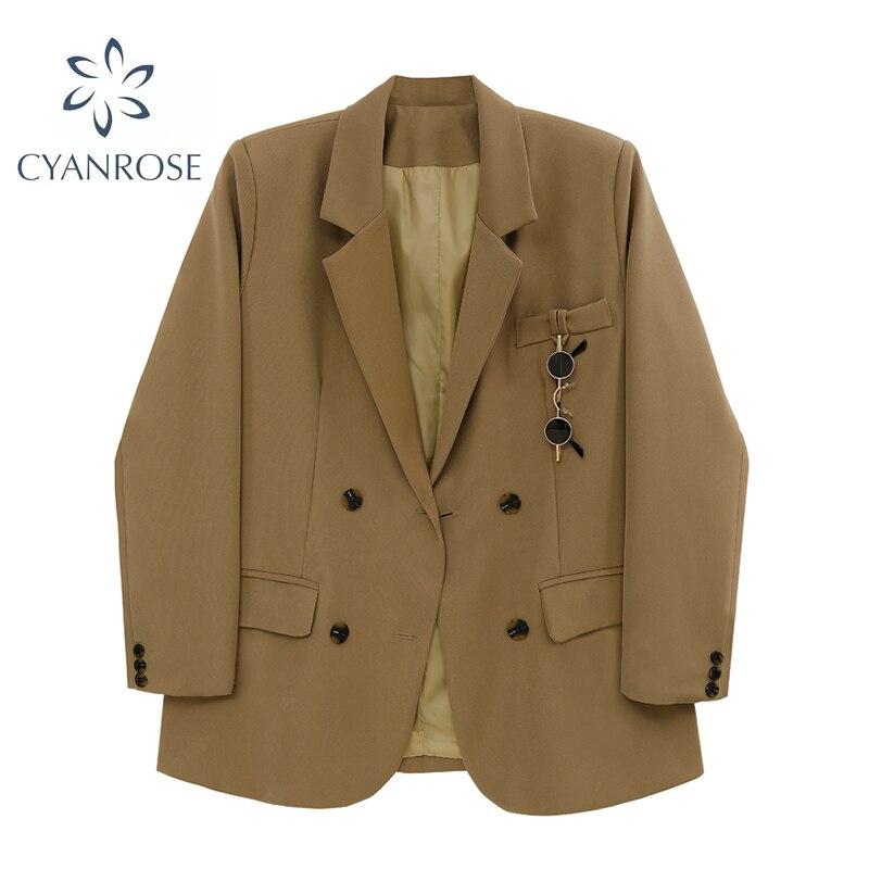 الخريف المرأة Blazer السترة معطف بلون طويلة الأكمام بدوره إلى أسفل طوق واحدة الصدر الإناث ملابس خارجية أنيقة بلايز نظارات