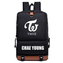 Kpop Hot Groups TWICE School Bag Old School Style Backpack Travel Bag Student Supplies Pure Black Ba