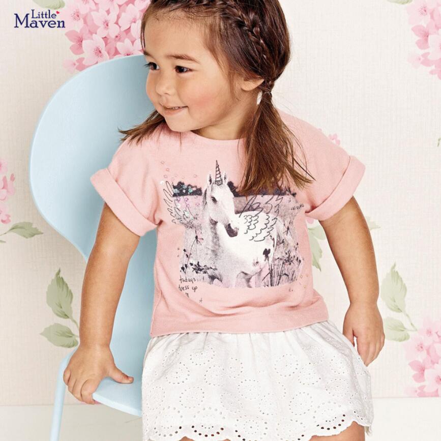 ¡NOVEDAD DE VERANO 2020! Ropa para niñas pequeñas, vestido de marca de algodón rosa con estampado de unicornio, vestidos de moda de manga corta S0729