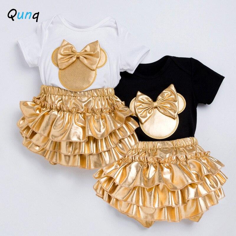 Alta qualidade do bebê meninas roupas de ouro bandana bodysuits shorts 3 pçs recém-nascidos ternos 1 ano festa aniversário conjunto infantil traje