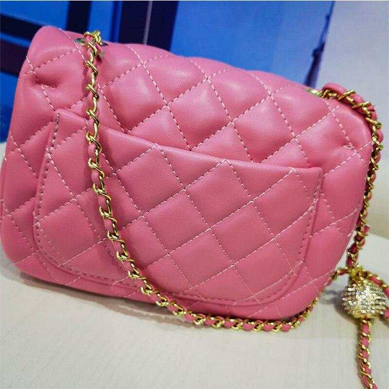موضة حلوى لون حقيبة الإناث سلسلة حقيبة الإناث صندوق مربع صغير عالية الجودة جلد طبيعي سيدة حقيبة الكتف حقيبة ساعي