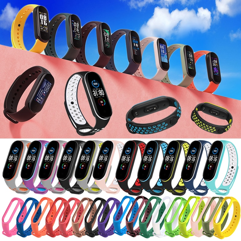 Silicone Wristband for Xiaomi Mi Band 5 Strap Sport Watch Soft Wrist Strap for Miband 5 Bracelet Wrist Band Straps Replacement for xiaomi mi band 2 strap miband 2 strap bands colorful starry sky all stars splash soft rubber silicone watch straps bands new