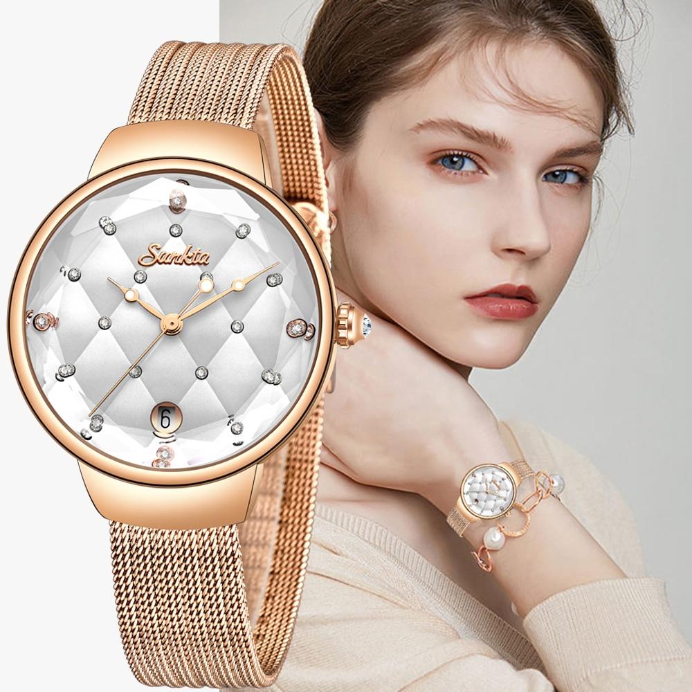 2021SUNKTA Women Watch Luxury Crystal Watch Women Waterproof Rose Gold Steel Strap Ladies WristWatches Top Brand Bracelet Clock enlarge