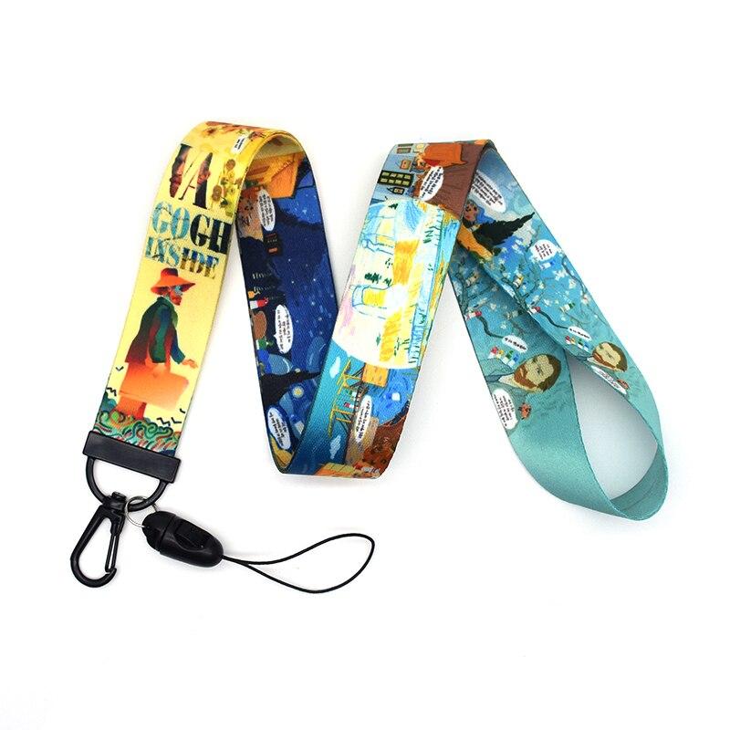 30pcs/lot Van Gogh Lanyard Watercolor Printing Lanyards Phone Case Starry Night Lanyard for Keys Badge Holders Keychain A272