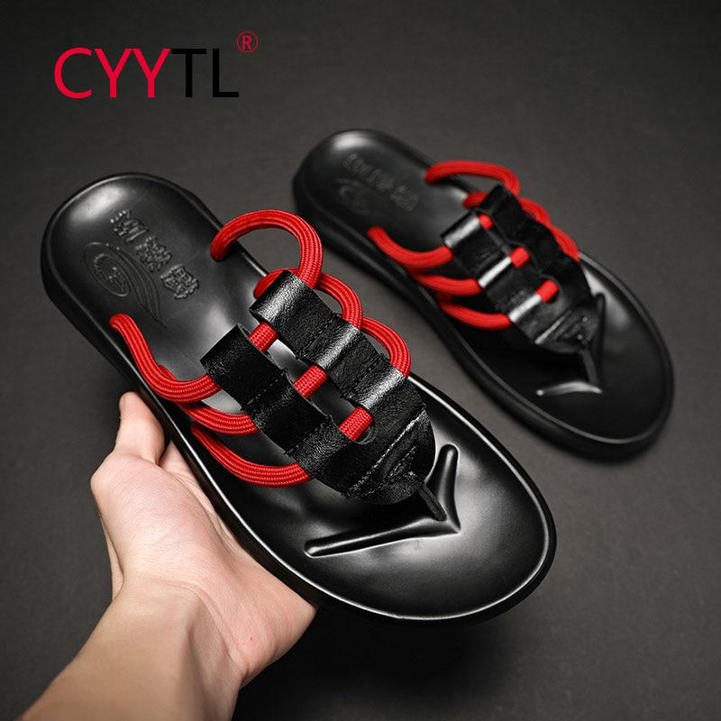 CYYTL Ropes Design Men Summer Flip Flops Sport Comfort Sandals Fashion Non-slip Slides Beach House Casual Shoes Travel Slippers