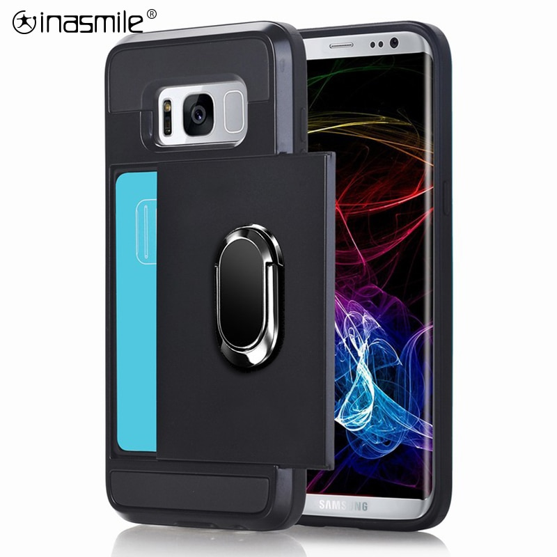 Slide Card Phone Case For Samsung Galaxy J8 J7 J5 J3 2018 2017 2016 J6 Plus J4 Plus Shockproof Holder Ring Armor Full Cover Case
