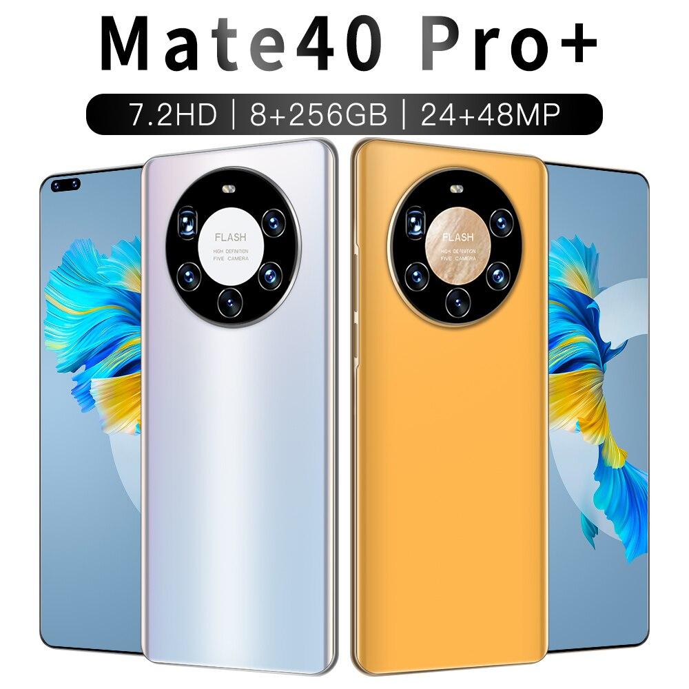 Smartphone Global Version Ultra Thin Mate40 Pro+ 5800mAh Full Screen 7.2 Inch Deca Core 12GB 512GB 4G LTE 5G Network Smartphone