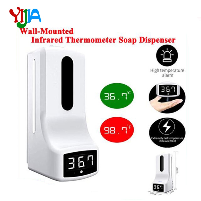 1000ml 2 in1 Boday Temperature K9 Automatic Soap Dispenser Palm Temperature Measurement and Spray  Integrated Machine for public