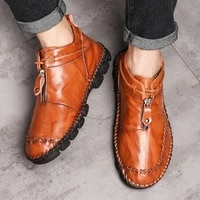 high quality genuine leather men boots fashion zipper shoes male cow leather man brown ankle boots 2021 summer plus size hot new