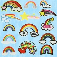 processing custom made clothes accessories cloth stickers embroidery cloud see rainbow clothes patch computer emboridery label
